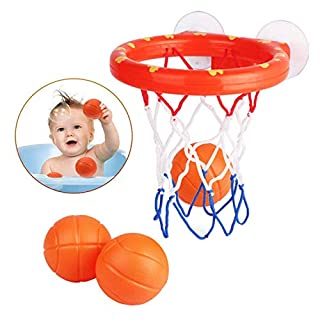 JAOK Mini Basketball Bath Toy, Bathroom Slam Dunk Game Gadget, with 3 Balls and Powerful Sucker, Children and Toddler Bath Toy Gift Set