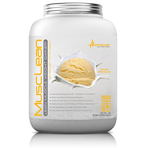Metabolic Nutrition, Musclean, Whey Protein Meal Replacement, Weight Gainer, High Protein, Low Carb, High Fat, Keto Diet, Digestive Enzymes, 24 Vitamins and Minerals, Vanilla, 5 pound (50 ser) (Best Protein For Lean Muscle)