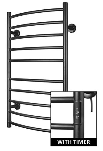 - Towel Warmer | Built-in Timer with Led Indicators | 3 Timer Modes: ON/Off, 2 H, 4 H | Both Hard-Wired & Plug-in Options Included| Wall Mounted | 10 Curved Bars | Power Coated (Carbon Steel)