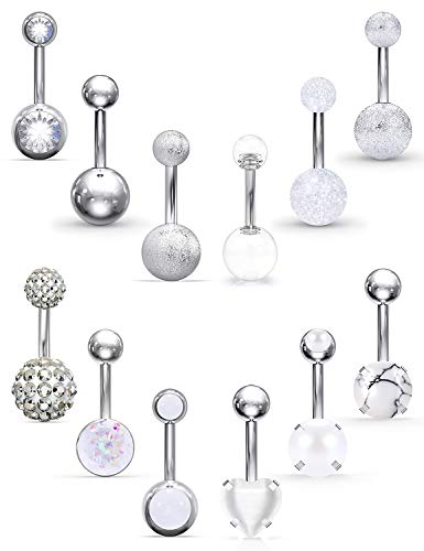 Prjndjw 11Pcs 14G 3/8 Inch 10MM Belly Button Ring Surgical Steel Hypoallergenic Lead and Nickel Free,14 Gauge Navel…