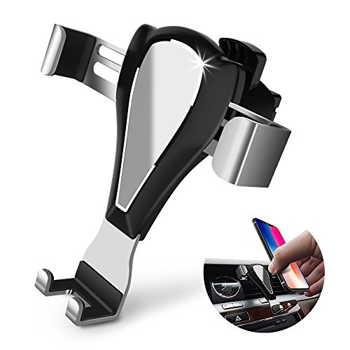 ELEWIUM Gravity Car Mount Universal Air Vent Cell Phone Holder iPhone Samsung LG HTC & Other Smartphone Devices-360° Rotating Joint & Adjustable Auto Clamping With Anti-Scratch Silicone Clips