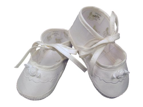Silk Baby Shoes - Little Things Mean A Lot Girls Silk Dupioni Christening Shoe - 3