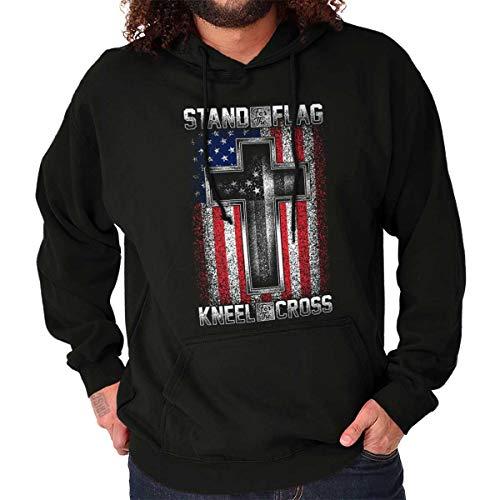 Stand Flag Kneel Cross Christian American Hoodie ()