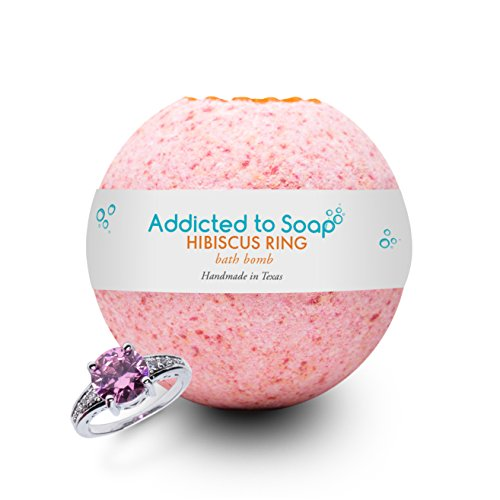 Addicted to Soap - Hibiscus Ring Bath Bomb | Ultra Luxurious - Extra Large 6oz Bath Bomb with STERLING SILVER RING Surprise Inside - Organic & Sensual Relaxation (Ring Size 9)