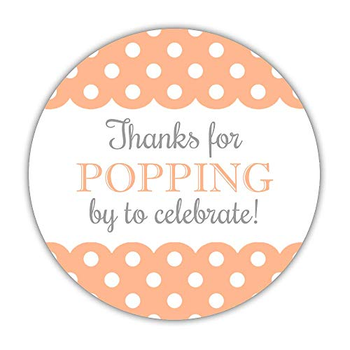 40 Thanks for Popping by to Celebrate with us Stickers, 2 inches - Baby Shower Popcorn Labels (Peach) (Label Peach)