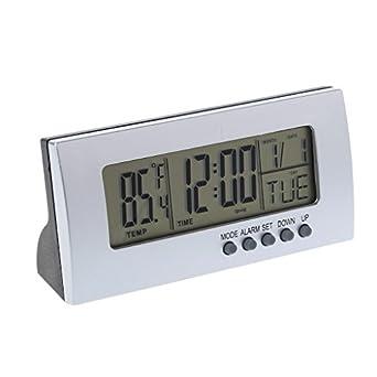 Qisuw - Termómetro digital LCD con alarma - Reloj despertador digital con pantalla LCD - Calendario de tiempo - Termómetro de escritorio: Amazon.es: Amazon. ...