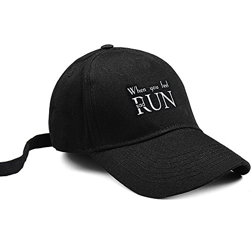 FURTALK Unisex Adjustable Sporty Sexy Baseball Caps Long Strap Hat Hat Keeper, When You Feel Sad, - Run Hat