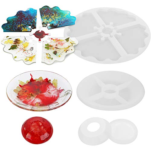 3PCS Coaster Molds for Resin Casting, Silicone Coaster Molds for Resin,Resin Tray Coaster Mold Kit