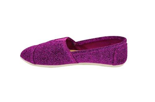 Bästa Kvinna Klassiska Duk Slip-on Sneakers (ws717) Glitter Rosa