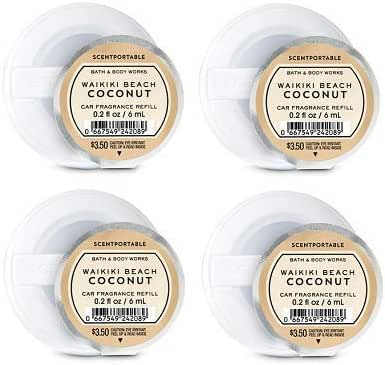 Bath and Body Works 4 Pack Waikiki Beach Coconut Scentportable Fragrance Refill. 0.2 Oz.