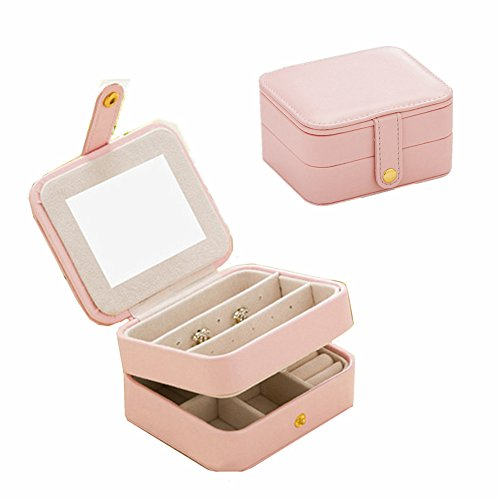 ouble Layer Jewellery Organizer Small Size Storage Case with Mirror for Ring Ear Stud Necklace Birthday ()