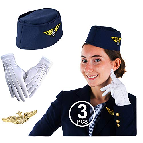 Tigerdoe Stewardess Hat - Flight Attendant Costume - Air Hostess - Cabin Crew - 3 Pc - Women
