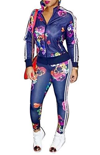 (Women's Floral Jacket + Pants 2 Piece Set Tracksuit Sports Joggers Suit Blue L)