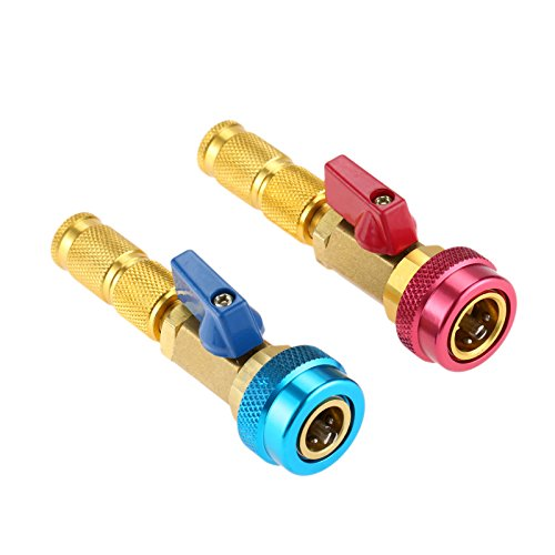 Core Air Conditioning - Aupoko R134A R12 Valve Core Quick Remover Installer, Air Conditioning Adjustable High Pressure (Red) and Low Pressure (Blue) Valve Core Tool, 2 Pack