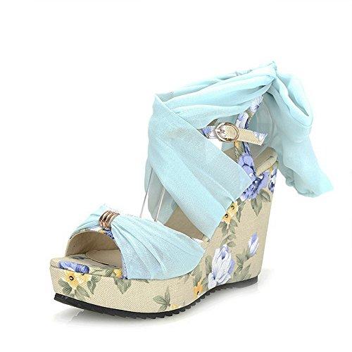 Amoonyfashion Kvinna Mjukt Material Öppen Tå Höga Klackar Spänne Diverse Färg Sandaler Blå
