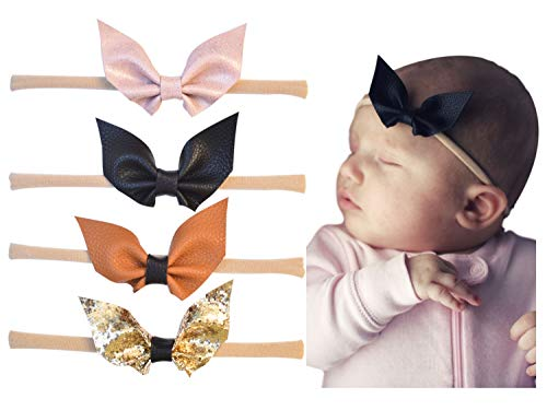 California Tot Kid's Faux Leather Glitter Bat Wing Bow in Soft & Super Stretchy Headbands for Newborn, Baby, Toddler, Girls (Bat Bow Nylon Headbands: Set of 4)