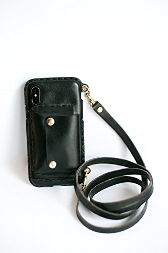 iPhone X BLACK Wallet Crossbody Phone Case with long strap leather phone case wallet BLACK Cell Phone Bag, Leather Crossbody Bag Mini Phone Pouch with Shoulder Strap by PhonePurse