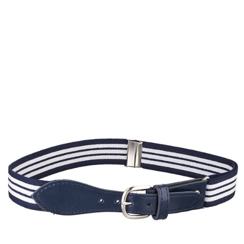 Kids Elastic Adjustable Belt with Leather Closure - Navy Striped With Navy ()