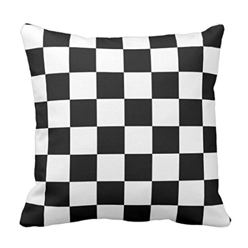 Pillow Checkered (Emvency Throw Pillow Cover Race Classic Checkered I Bleed Racing Check Black Flag Decorative Pillow Case Home Decor Square 16 x 16 Inch Pillowcase)
