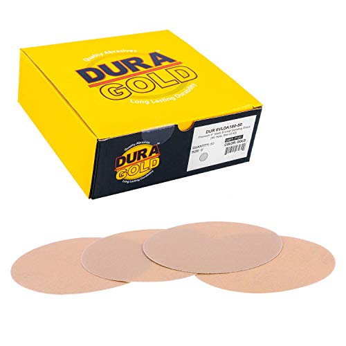 "Dura-Gold - Premium - 180 Grit 6"" Gold Hook & Loop No Hole Sanding Discs for DA Sanders - Box of 50 Sandpaper Finishing Discs for Automotive and Woodworking"