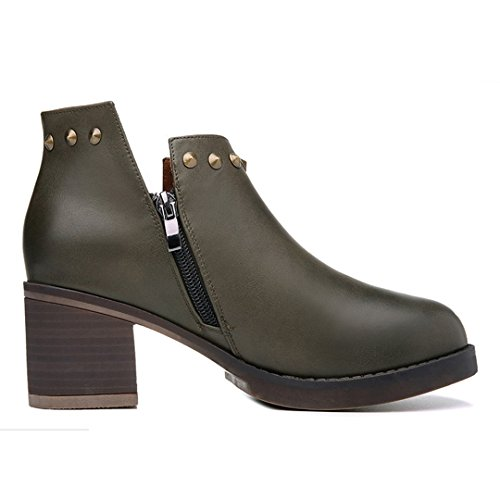 Sneakers Slip Fashion Shoes Round Heel Chunky Block Women's Leather On MAC Toe U Armygreen wxq6pq