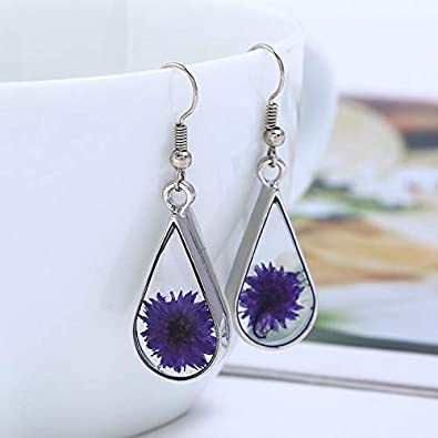 Pressed Natural Flower Teardrop Earrings Handmade Resin Drop Dangle Girls Silver-tone
