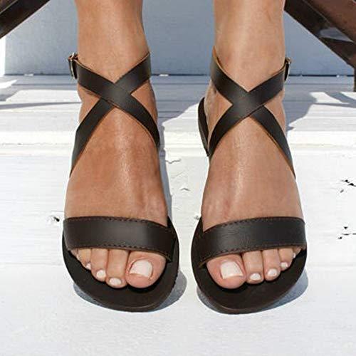 Casual Estivi Spiaggia Scarpe Sandali Gladiatore Estive Da Donna Morbido Fradito Sportivi Pantofole Bassi Panpany In Nero Piatti zCwxqpwg4S