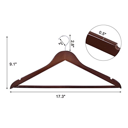 SONGMICS Wood Hangers, 20 Pack - Selected Solid Wooden Hangers with Smooth Finish and Human Shoulder Design,Brown, UCRW05K-20 by SONGMICS (Image #5)