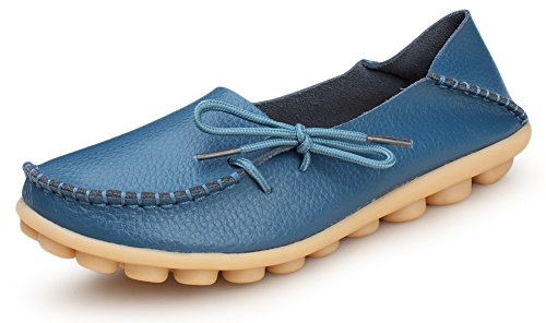 Slide Aft - Kunsto Women's Leather Casual Loafer Shoes US Size 9.5 Light Blue
