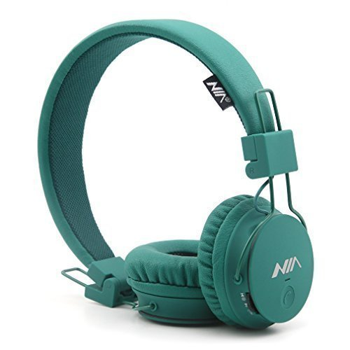 Granvela Wireless Headphones, X2 Lightweight Foldable Multifunction Headphones with FM Radio, TF Card Player, Microphones,Detachable Cable and Sharing Port. (Deep Green)
