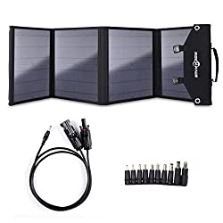Rockpals Foldable 60W Solar Panel Charger for Suaoki/Webetop / Jackery Explorer 240 Portable Generator/Goal Zero Yeti Power Station/Paxcess Battery Pack/USB Devices, QC3.0 USB Ports