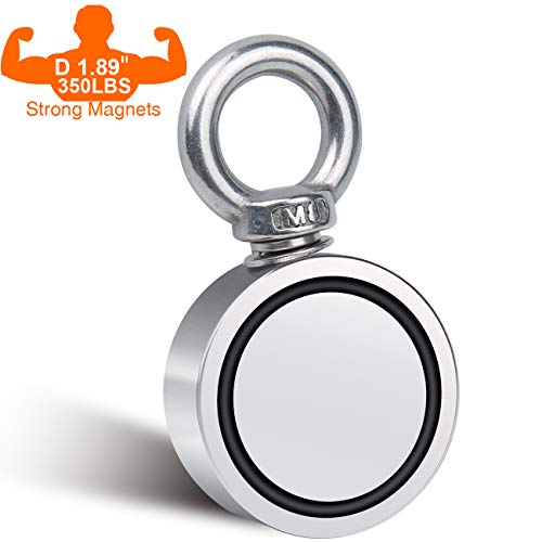 Fishing Magnet Double Sided Neodymium Magnet with Eyebolt, Combined 350 LBS Pulling Force Super Strong Magnet for Magnetic Fishing, Treasure Hunting Underwater 1.89 inch(48mm) Diameter