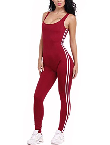 [CRF Women Sexy Backless Sleeveless One Pieces Outfits Sets Bodycon Bandage Long Pants Jumpsuit (Medium, wine] (Sexy Women In Sexy Outfits)