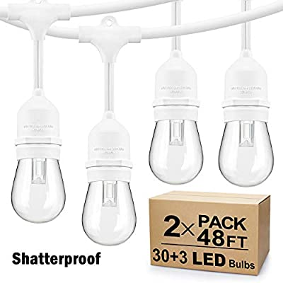 2 Pack 48Ft LED Outdoor String Lights, Dimmable Patio String Lights Waterproof, Commercial Grade&Shatterproof, With White Cords, 15 Hanging Sockets, 3 Spare Bulbs, for Backyard, Gazebo (Total 96FT)