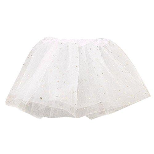 2-7 Years Baby Kids Girls Lace Stars Sequins Mesh Pettiskirt Party Princess Dance Ballet Mini Tutu Skirts Dress (White, One Size: 2-7 Years)