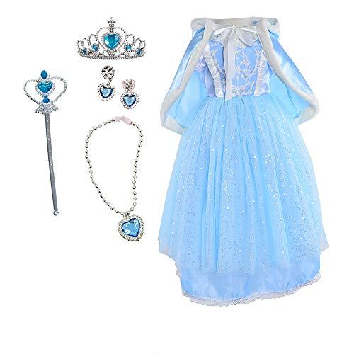 TOKYO-T Girls Cinderella Dress Elsa Snow Queen Costume with Full Accessories (4, Blue) -
