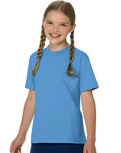 (Hanes boys Cotton T-Shirt(5450)-Carolina Blue-L)