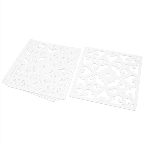 (uxcell Flower Pattern Home Hall Carved Window Divider Panel Hanging Screen 4pcs White)