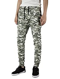 ITALY MORN Man Joggers Chinos Pant Casual Sweatpant Drop Crotch Skinny Black