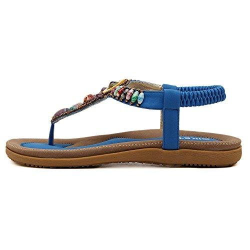 Plage Bohême Minetom avec Bleu Style Plates Perles Shoes Chaussures Rond Plage Été Tete Cuir en Sandales Femmes rrBqw6v