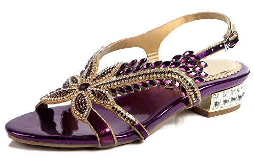 (LizForm Women Open Toe Dress Party Leather Shoes Sparkle Crystal Studded Ankle Strap Sandals Violet 7.5)
