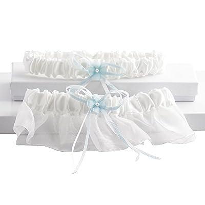 Sleek 2 Pc Bridal Garter Set, White and Blue