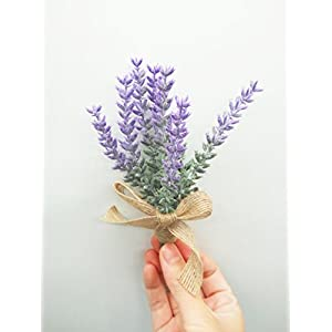 Yokoke Artificial Lavender Flowers Boutonniere Bouquet Corsage Wristlet 4 Pcs Nearly Natural Fake Purple Plant with Burlap Bow for for Wedding Church Party Home Decor 2