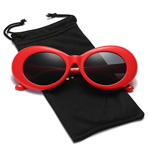 Dumok Clout Goggles Retro Oval Mod Sunglasses Kurt Cobain With Red Frame/Grey - Designer Clout Goggles
