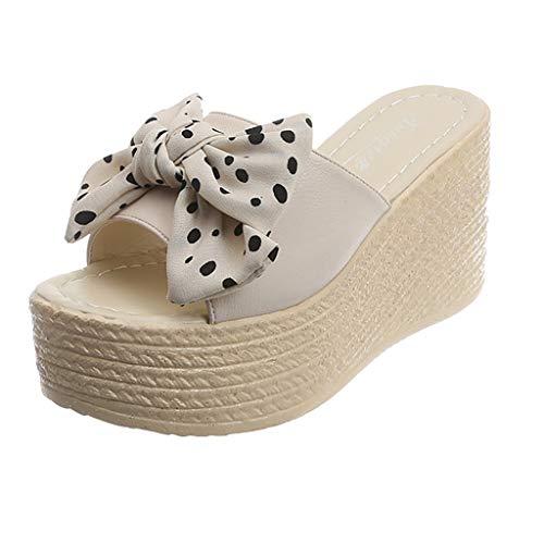 LOVOZO Polka Dot WomenLadies Bow Knot Peep Toe Platform Wedges Sandal Shoes Slipper 2019 Newly Clear Beige