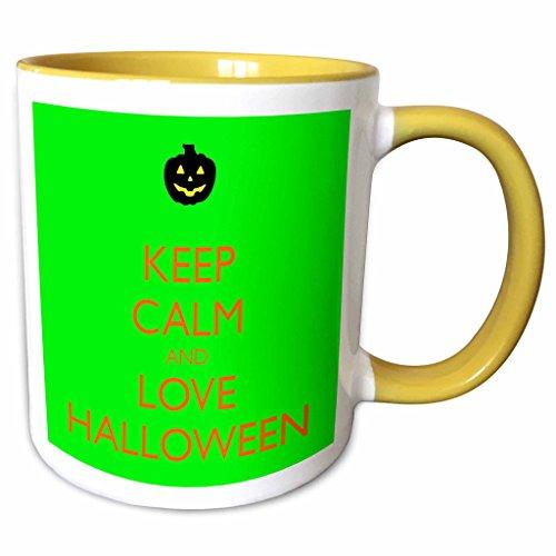 3dRose EvaDane - Funny Quotes - Keep calm and love Halloween - 15oz Two-Tone Yellow Mug (mug_161173_13) -