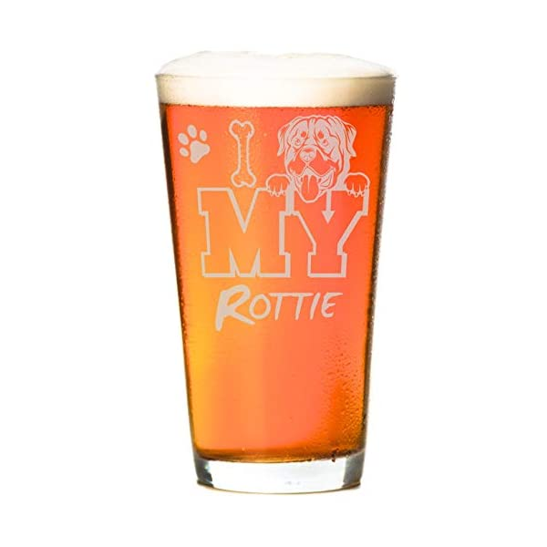 I Love My Rottie 16 oz Beer Rottweiler Pint Glass (1 Glass) 2