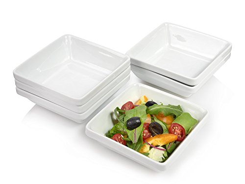 Bluespoon Salatschüssel Set aus Porzellan 6 teilig | Perfekt Stapelbare Schalen, quadratisch | Hochwertige Servierschalen mit den Maßen 12x12x4,5 cm