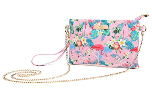Aitbags Soft PU Leather Wristlet Clutch Crossbody Bag with Chain Strap Cell Phone Purse Pink Flamingo ()