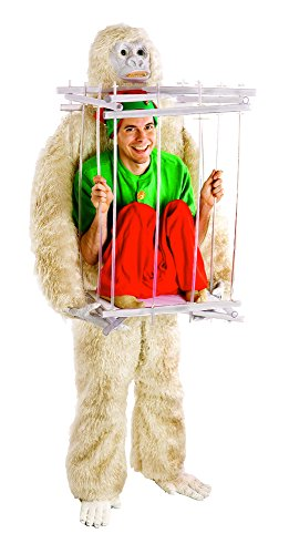 Gorilla Costumes Cage (HouseHaunters Abominable Snowman and Ice Cage Costume Kit, White, One Size)